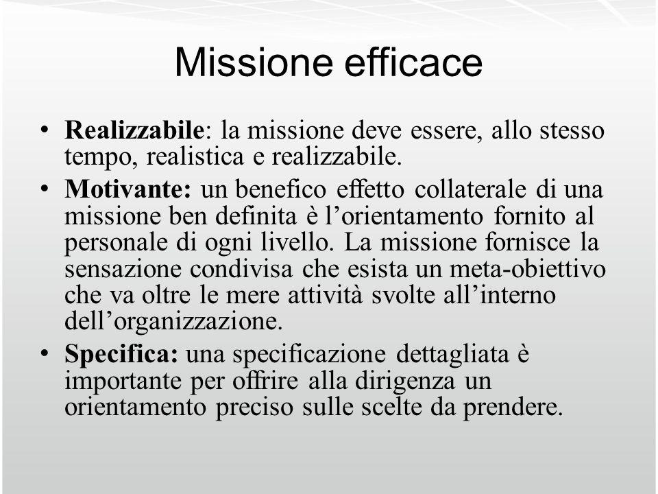 Missione efficace Realizzabile: la missione deve essere, allo stesso tempo, realistica e realizzabile.