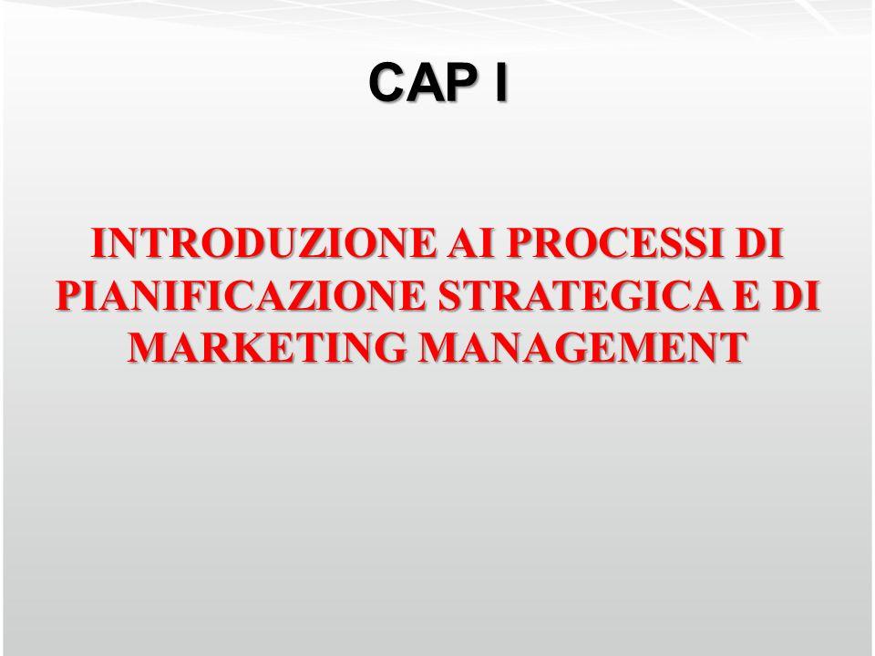 CAP I INTRODUZIONE AI PROCESSI DI PIANIFICAZIONE STRATEGICA E DI MARKETING MANAGEMENT