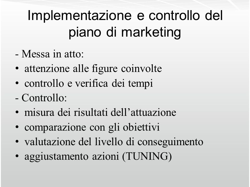 Implementazione e controllo del piano di marketing
