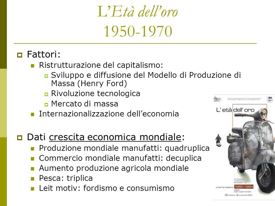 L'Età dell'oro 1950-1970 Fattori: Dati crescita economica mondiale: