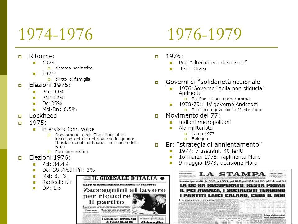 1974-1976 1976-1979 Riforme: Elezioni 1975: Lockheed Elezioni 1976: