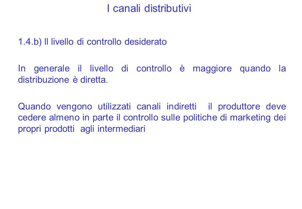 I canali distributivi 1.4.b) ll livello di controllo desiderato