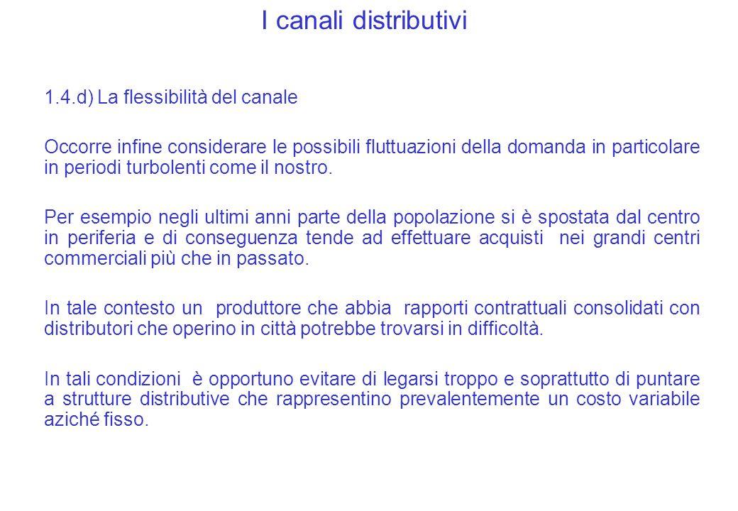 I canali distributivi 1.4.d) La flessibilità del canale