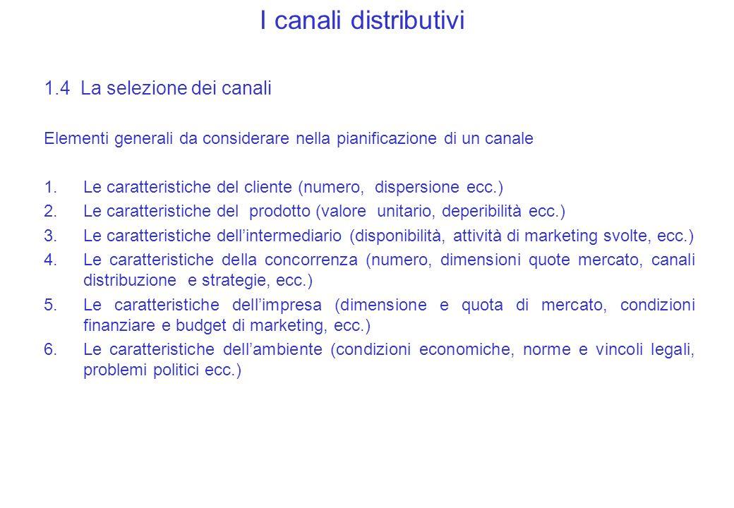 I canali distributivi 1.4 La selezione dei canali