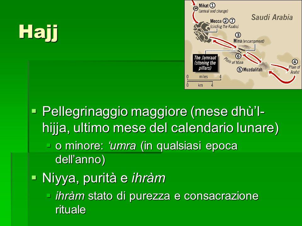 HajjPellegrinaggio maggiore (mese dhù'l-hijja, ultimo mese del calendario lunare) o minore: 'umra (in qualsiasi epoca dell'anno)