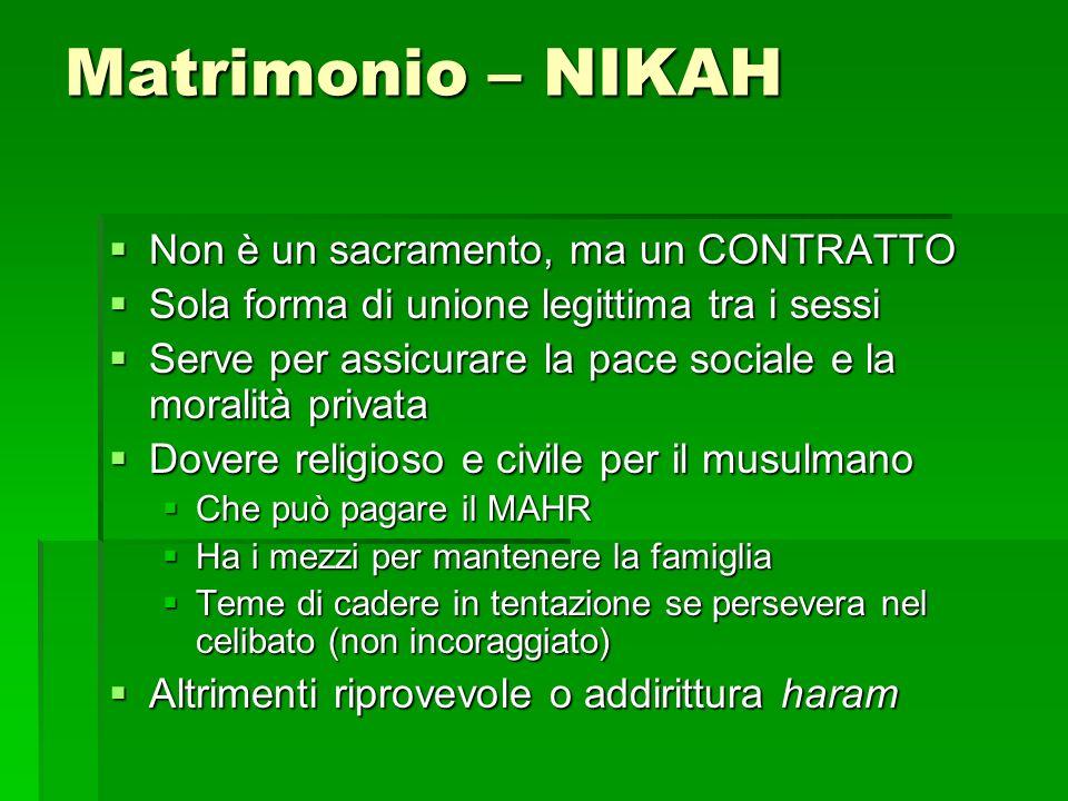 Matrimonio – NIKAH Non è un sacramento, ma un CONTRATTO