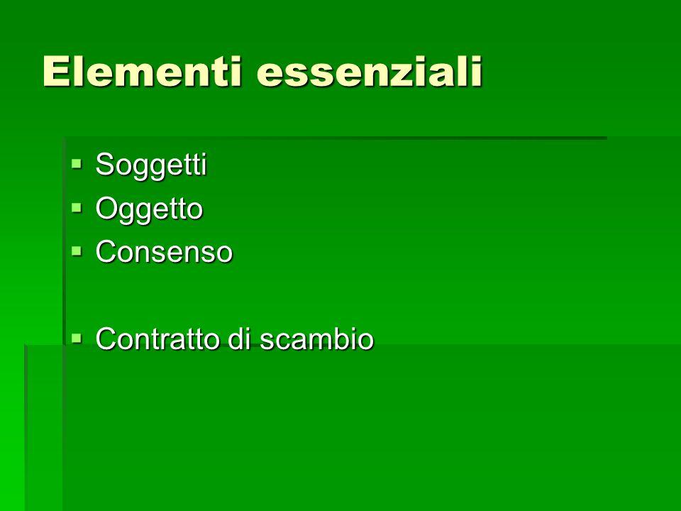 Elementi essenziali Soggetti Oggetto Consenso Contratto di scambio