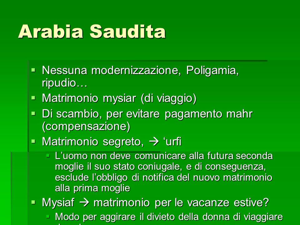Arabia Saudita Nessuna modernizzazione, Poligamia, ripudio…