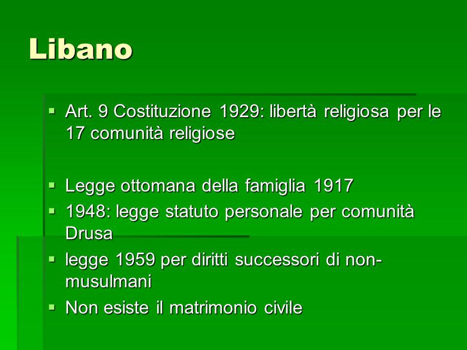 Libano Art. 9 Costituzione 1929: libertà religiosa per le 17 comunità religiose. Legge ottomana della famiglia 1917.
