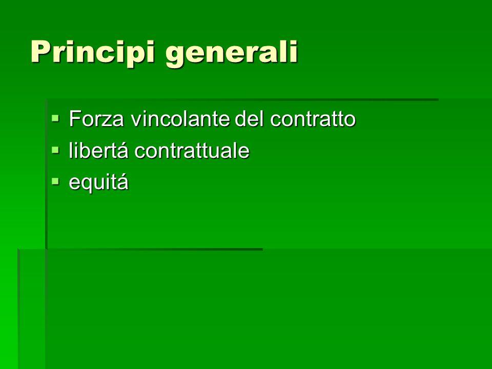 Principi generali Forza vincolante del contratto libertá contrattuale