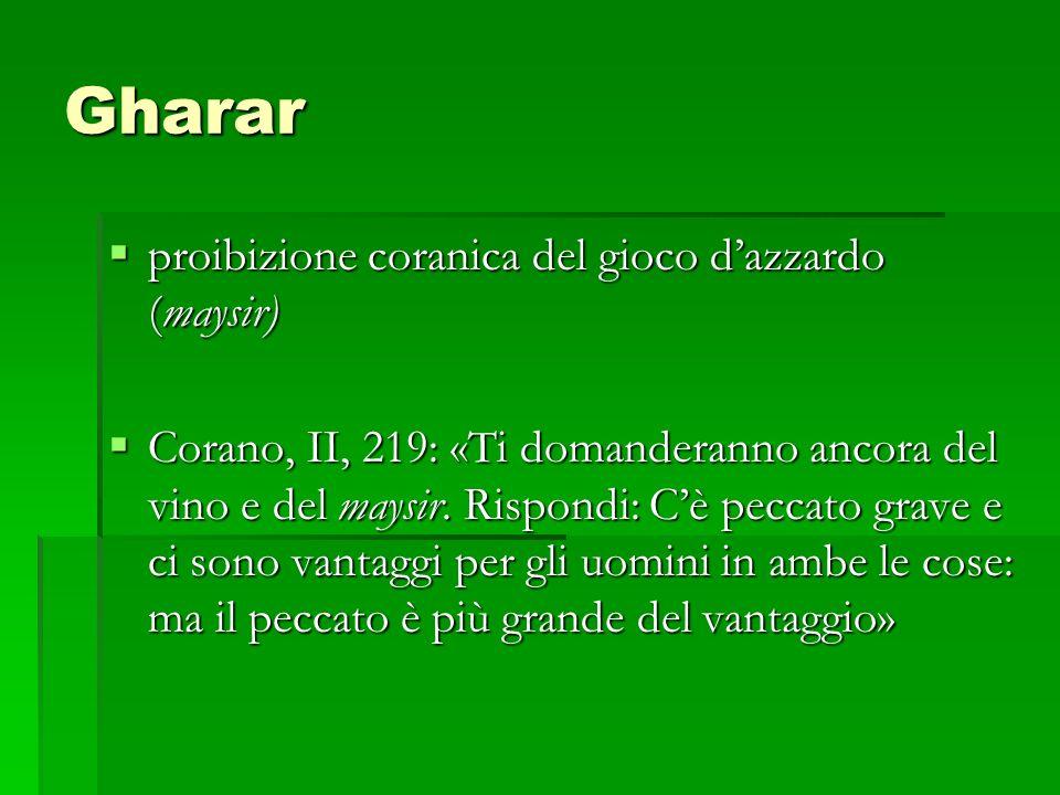 Gharar proibizione coranica del gioco d'azzardo (maysir)