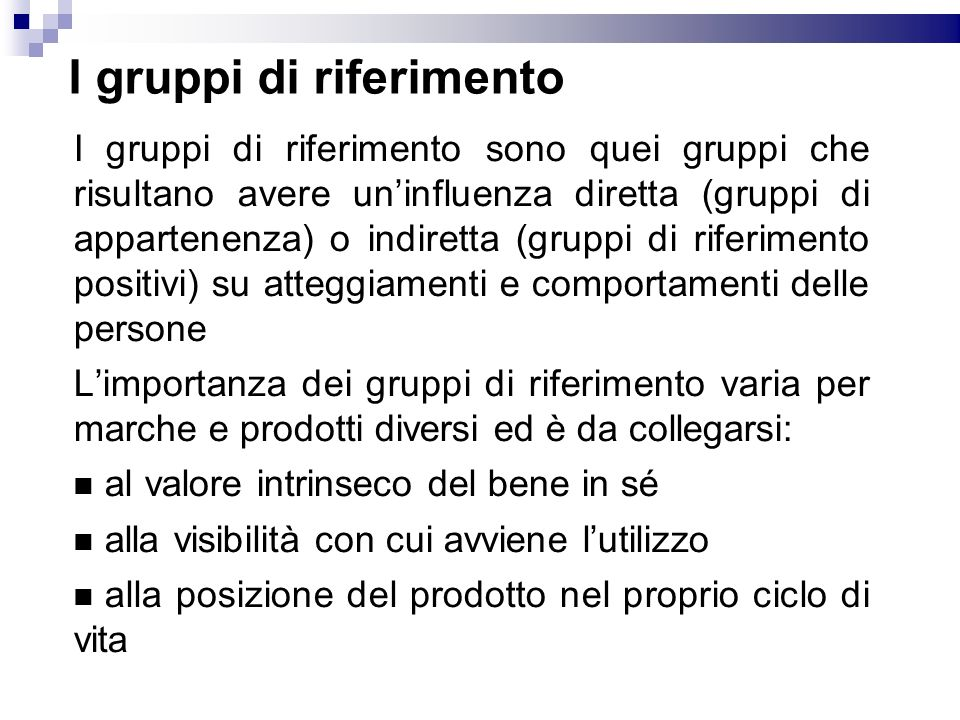 I gruppi di riferimento