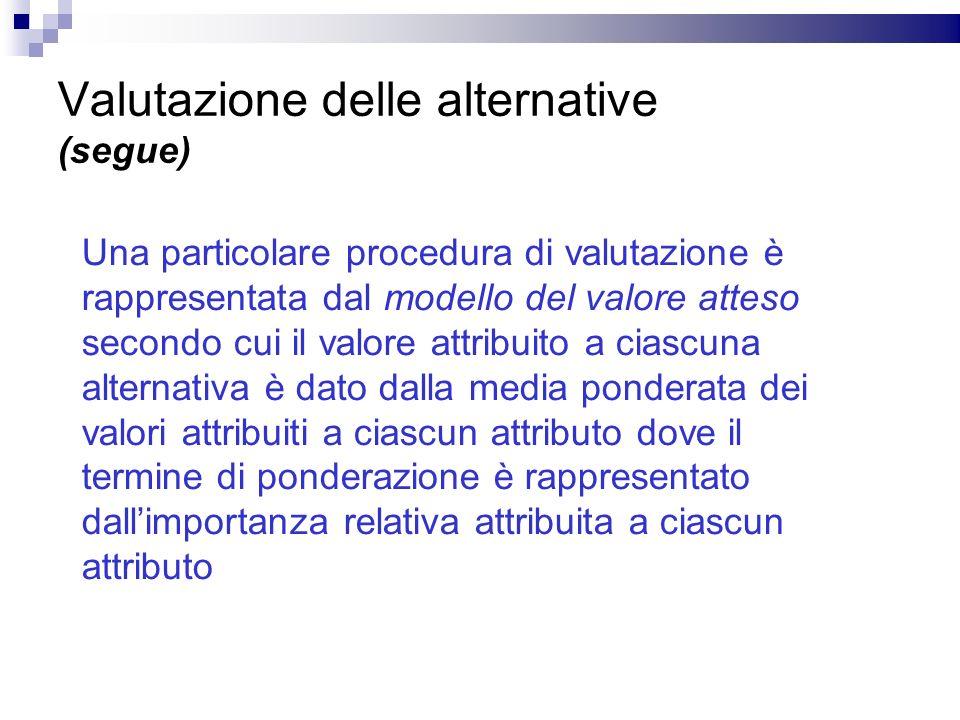 Valutazione delle alternative (segue)