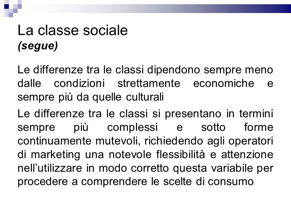 La classe sociale (segue)