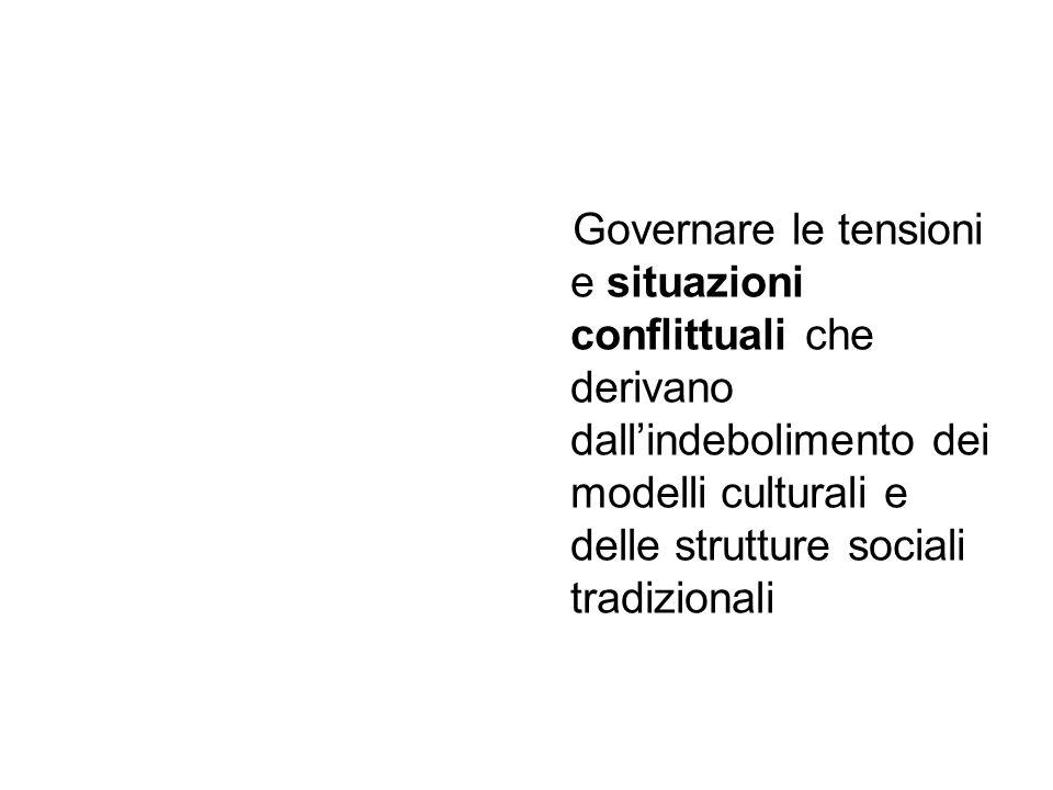 Governare le tensioni e situazioni conflittuali che derivano dall'indebolimento dei modelli culturali e delle strutture sociali tradizionali