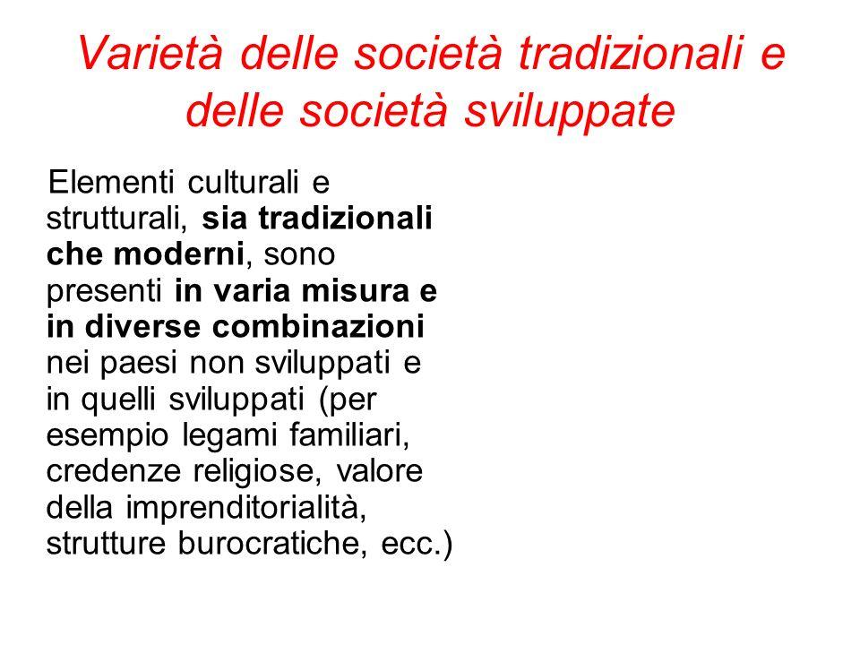 Varietà delle società tradizionali e delle società sviluppate