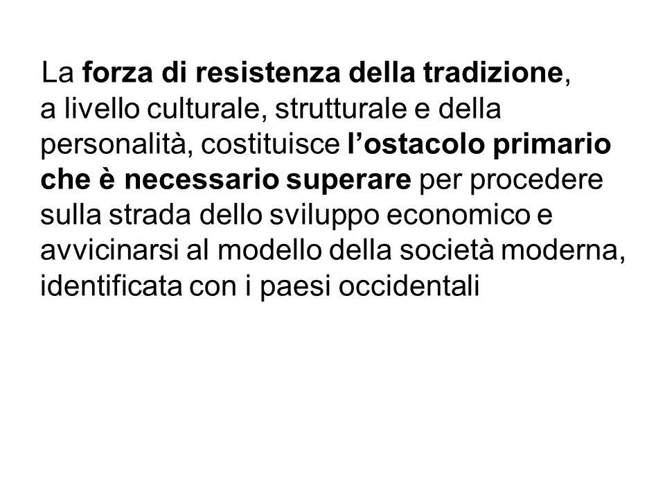 La forza di resistenza della tradizione, a livello culturale, strutturale e della personalità, costituisce l'ostacolo primario che è necessario superare per procedere sulla strada dello sviluppo economico e avvicinarsi al modello della società moderna, identificata con i paesi occidentali