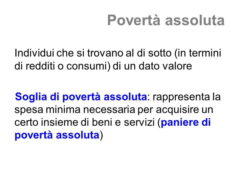 Povertà assolutaIndividui che si trovano al di sotto (in termini di redditi o consumi) di un dato valore.