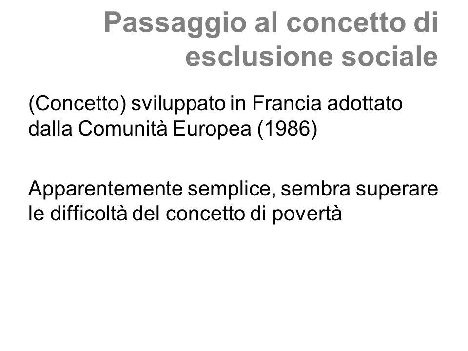 Passaggio al concetto di esclusione sociale