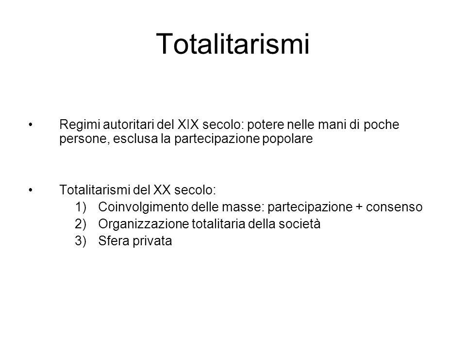 Totalitarismi Regimi autoritari del XIX secolo: potere nelle mani di poche persone, esclusa la partecipazione popolare.