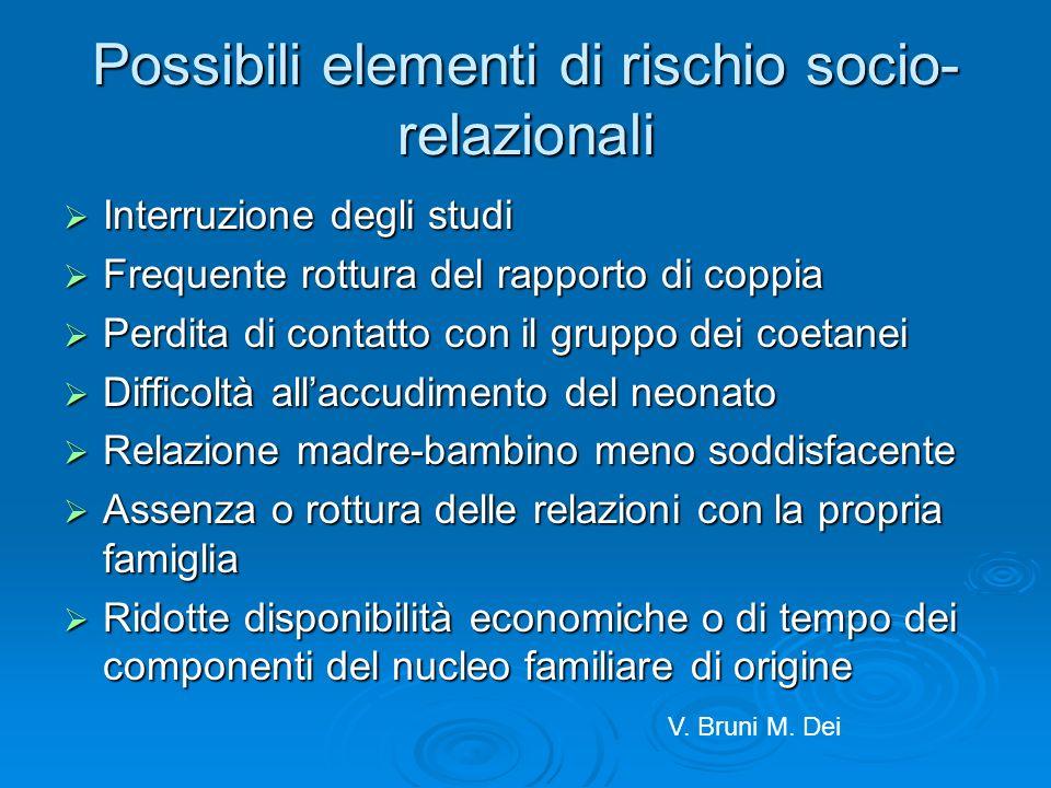 Possibili elementi di rischio socio-relazionali