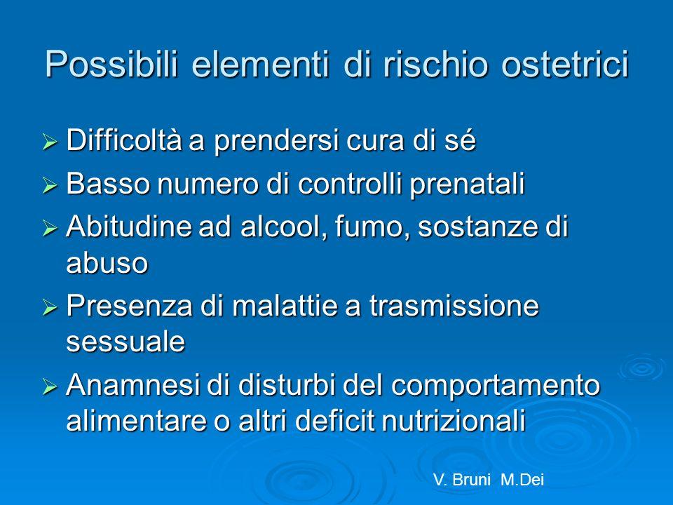 Possibili elementi di rischio ostetrici