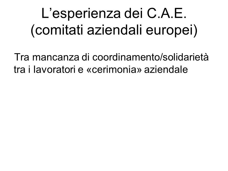 L'esperienza dei C.A.E. (comitati aziendali europei)