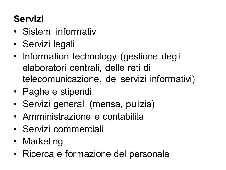 Servizi Sistemi informativi. Servizi legali.