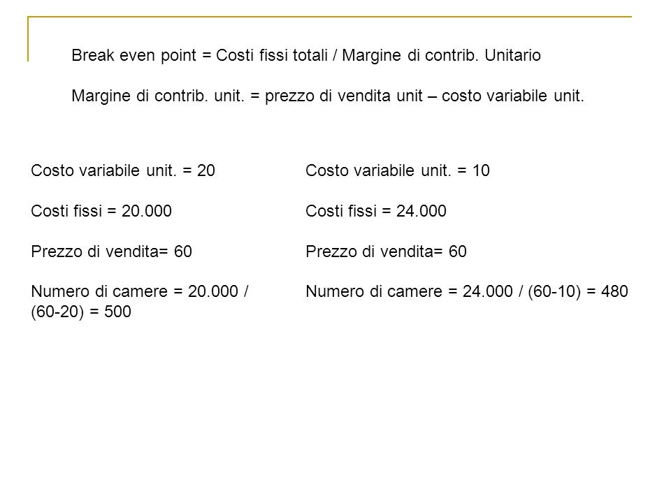 Break even point = Costi fissi totali / Margine di contrib. Unitario