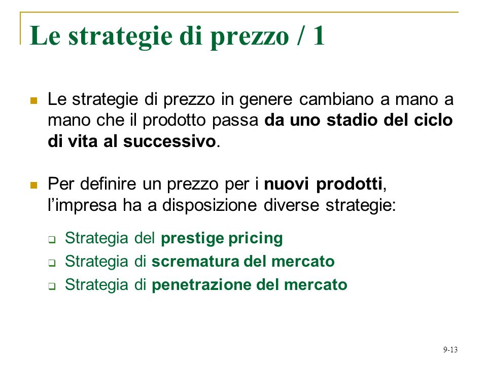 Le strategie di prezzo / 1