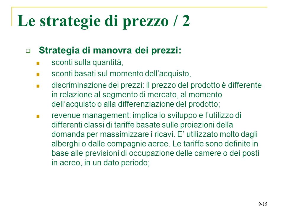 Le strategie di prezzo / 2