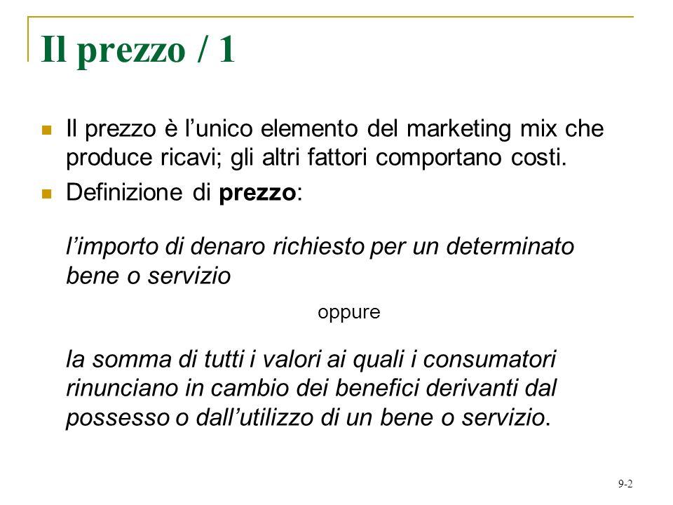 Il prezzo / 1 Il prezzo è l'unico elemento del marketing mix che produce ricavi; gli altri fattori comportano costi.