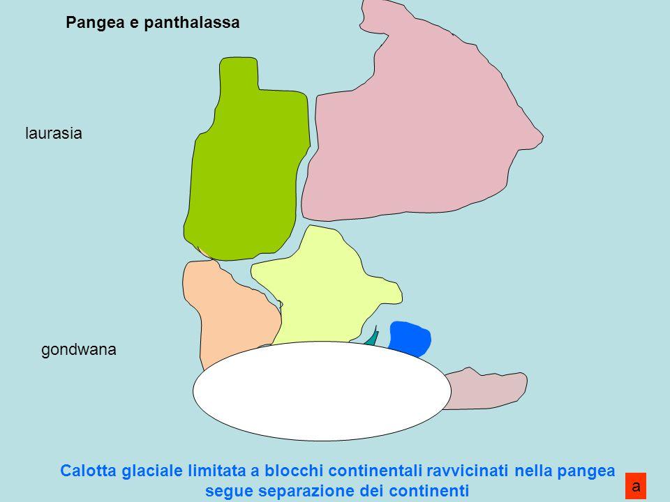 Pangea e panthalassa laurasia. gondwana. Calotta glaciale limitata a blocchi continentali ravvicinati nella pangea segue separazione dei continenti.