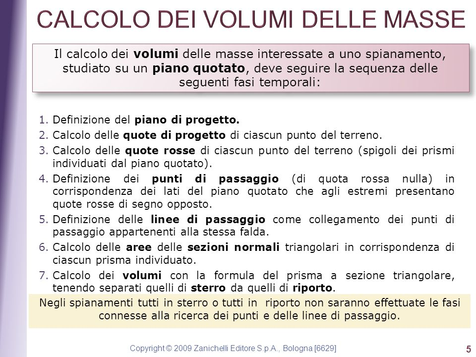 CALCOLO DEI VOLUMI DELLE MASSE