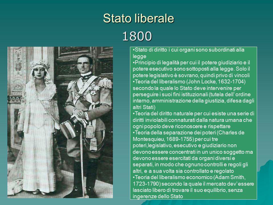 Stato liberale 1800. Stato di diritto i cui organi sono subordinati alla legge.