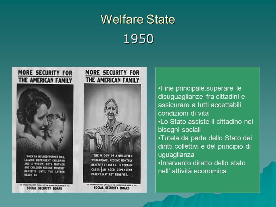 Welfare State 1950. Fine principale:superare le disuguaglianze fra cittadini e assicurare a tutti accettabili condizioni di vita.