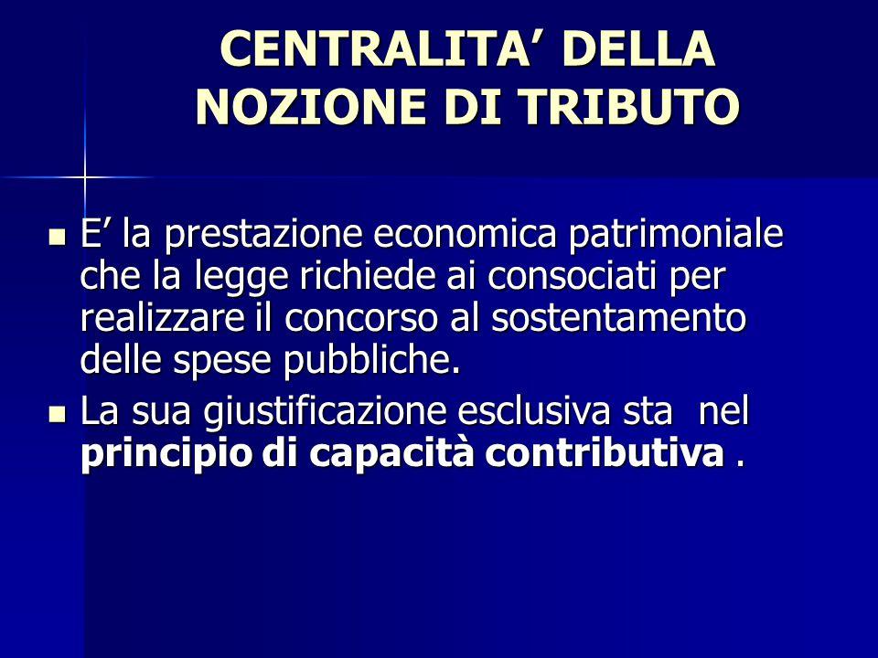 CENTRALITA' DELLA NOZIONE DI TRIBUTO
