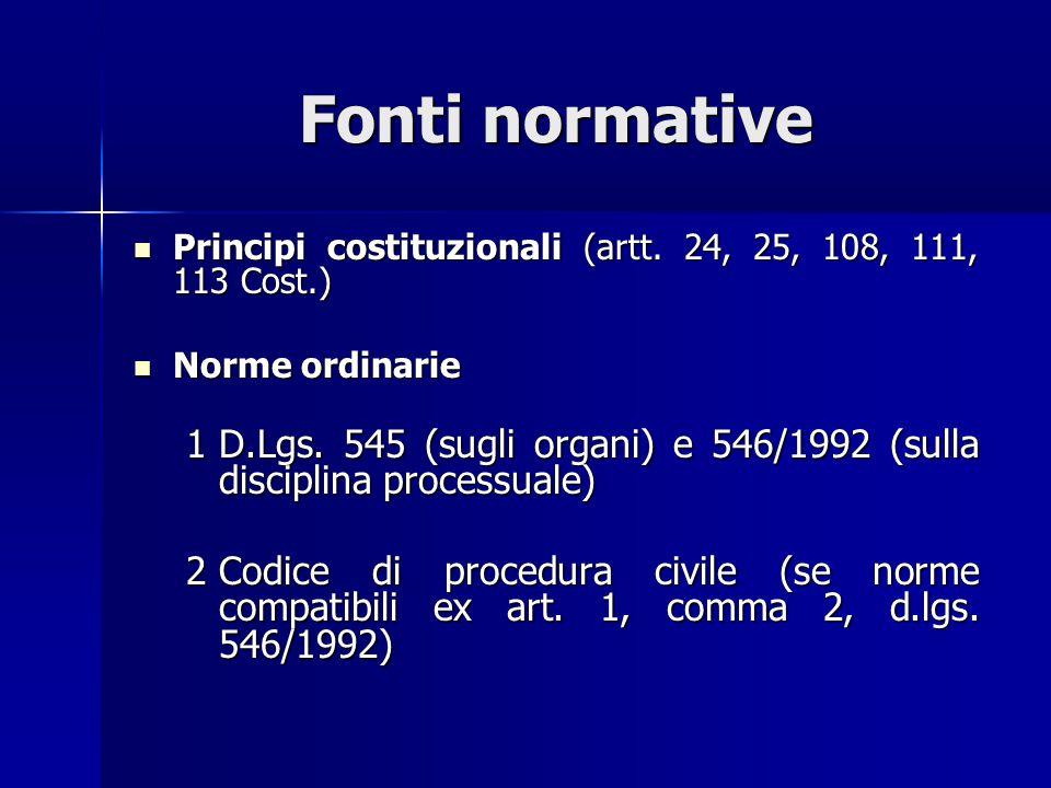 Fonti normative Principi costituzionali (artt. 24, 25, 108, 111, 113 Cost.) Norme ordinarie.