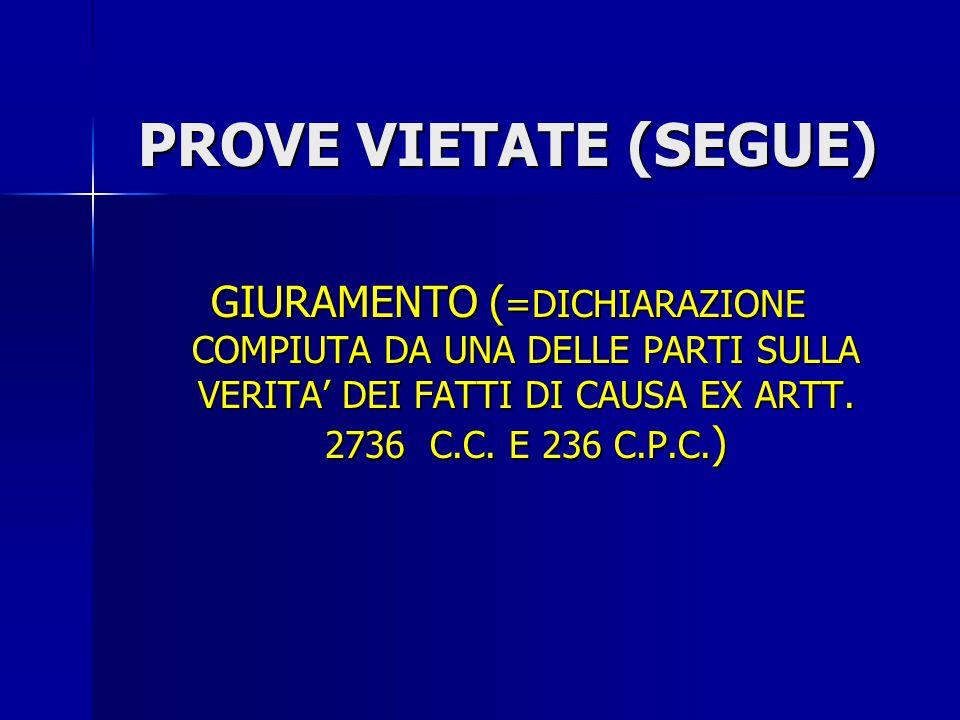 PROVE VIETATE (SEGUE) GIURAMENTO (=DICHIARAZIONE COMPIUTA DA UNA DELLE PARTI SULLA VERITA' DEI FATTI DI CAUSA EX ARTT.