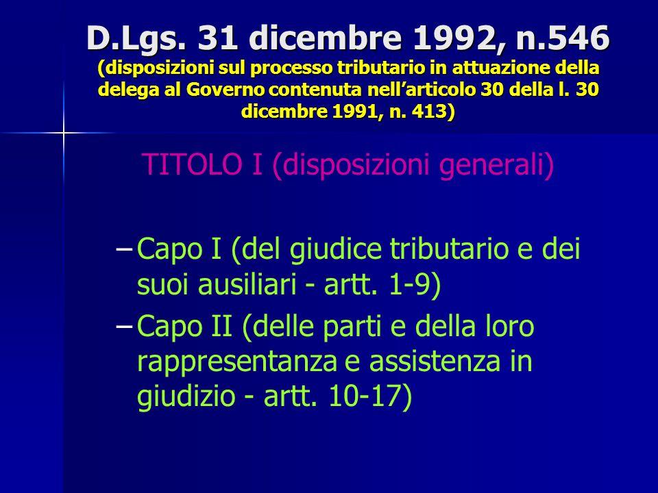 TITOLO I (disposizioni generali)