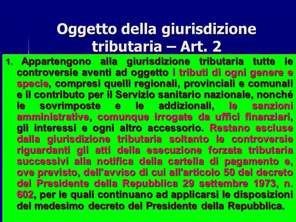 Oggetto della giurisdizione tributaria – Art. 2