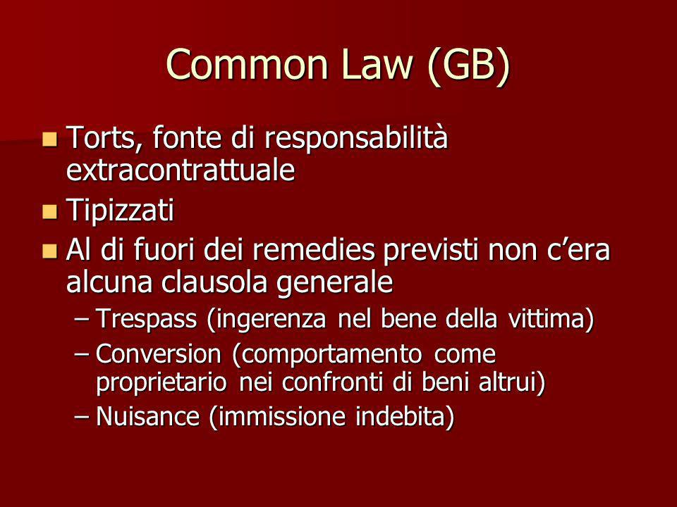 Common Law (GB) Torts, fonte di responsabilità extracontrattuale