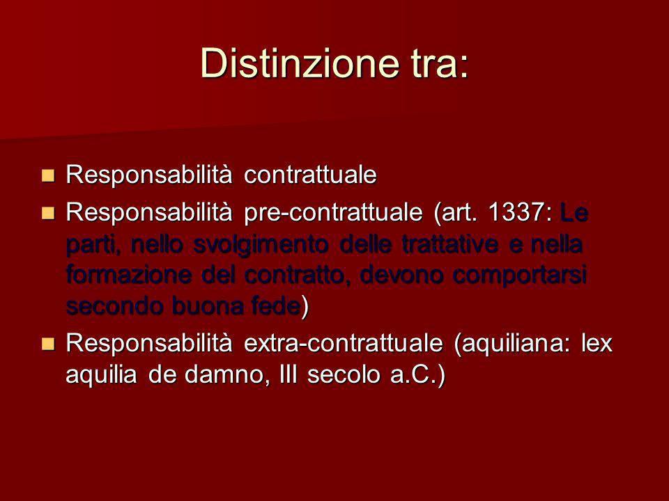 Distinzione tra: Responsabilità contrattuale