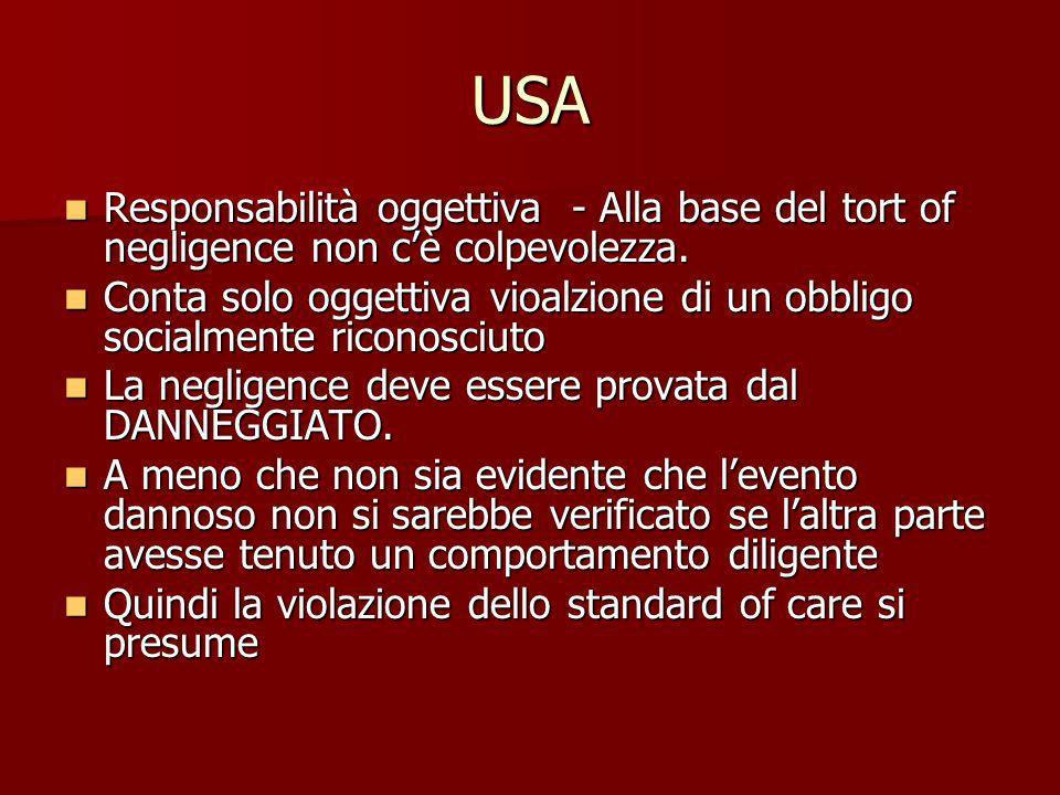 USA Responsabilità oggettiva - Alla base del tort of negligence non c'è colpevolezza.