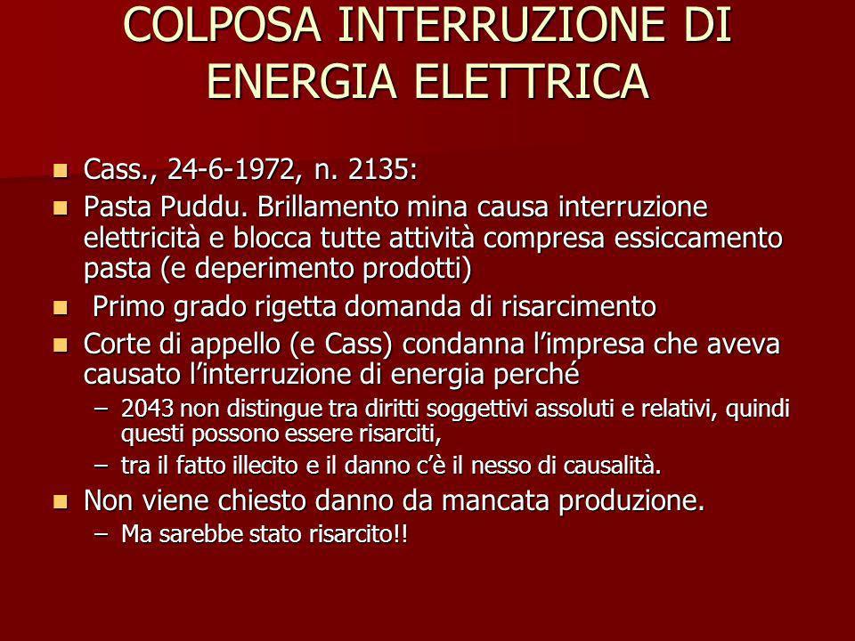 COLPOSA INTERRUZIONE DI ENERGIA ELETTRICA