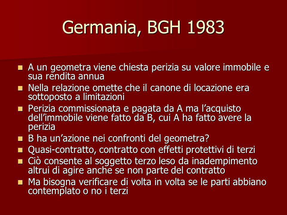Germania, BGH 1983 A un geometra viene chiesta perizia su valore immobile e sua rendita annua.