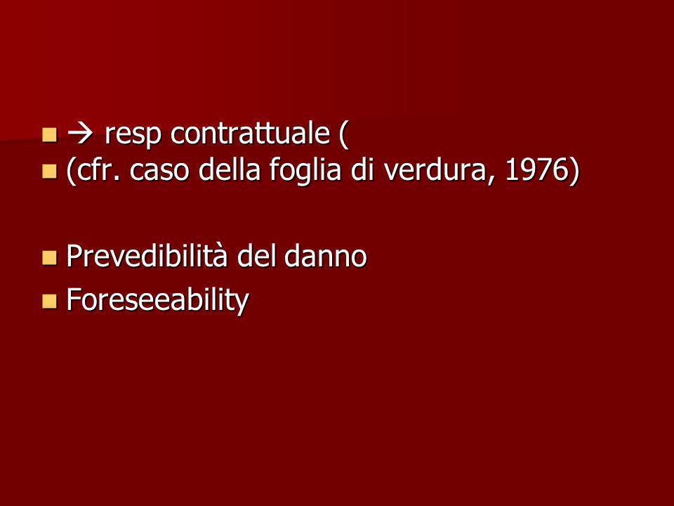  resp contrattuale ( (cfr. caso della foglia di verdura, 1976) Prevedibilità del danno.