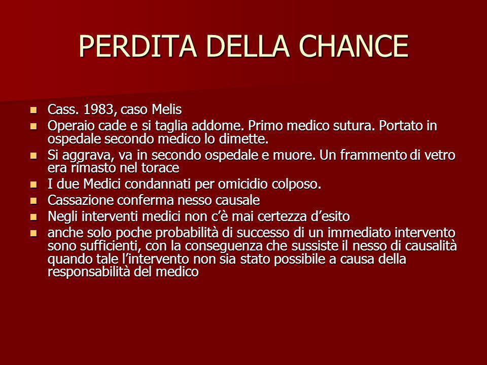 PERDITA DELLA CHANCE Cass. 1983, caso Melis