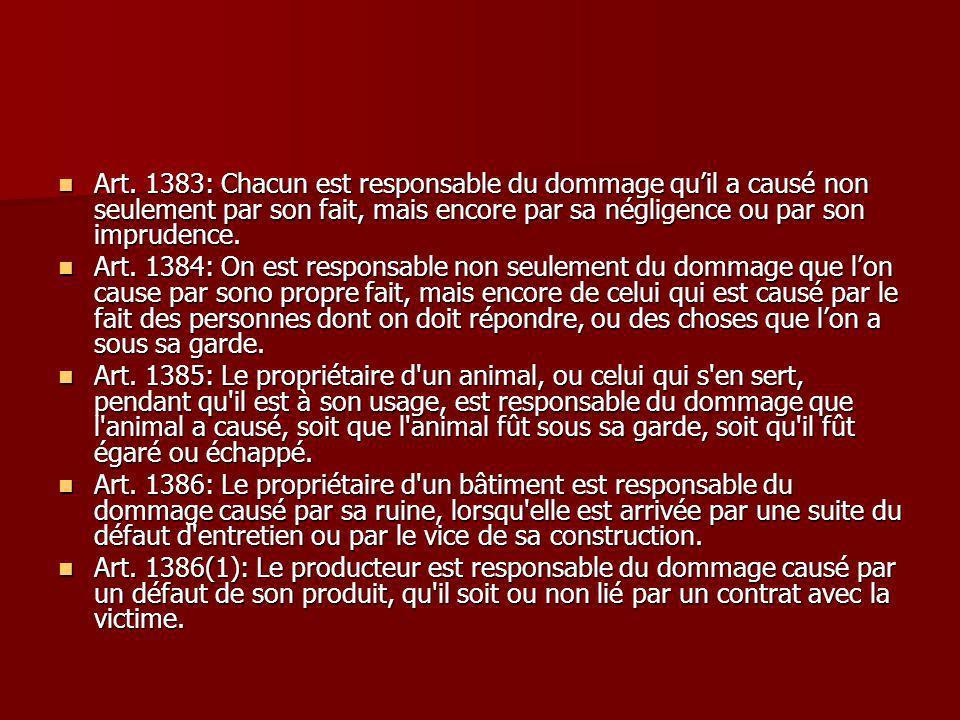 Art. 1383: Chacun est responsable du dommage qu'il a causé non seulement par son fait, mais encore par sa négligence ou par son imprudence.