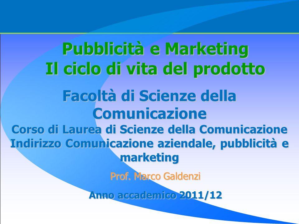Pubblicità e Marketing Il ciclo di vita del prodotto